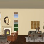 Virtual Living Room Dining Design Featuring Transitional Styled