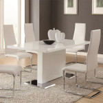 White Modern Dining Set Glossy Finished Rectangular Table Top