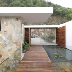 Wooden Floor Door Glass White Wall Roof Pool House Decorating Ideas