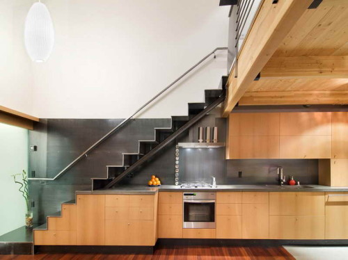 Wooden Stairs Design Kitchen Countertop