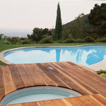 Wooden Outdoor Deck Swimming Pool
