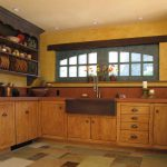 Yellow Wood Kitchen Cabinets With French Country