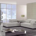 White Leather Shaped Couch Bed Modern