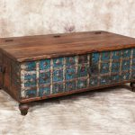 Antique Blue Cream Indian Trunk Coffee Table Metal