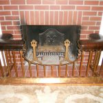 Antique English Club Fender Fireplace Seat Bench Leather Copper Frame