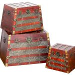 Antique Wooden Pyramid Trunks Set Rustic Decorative