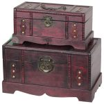 Antique Wooden Treasure Chest Set Traditional Decorative Trunks