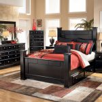 Ashley Furniture Shay Queen King Black Poster Storage Bed Frame Bedroom Set