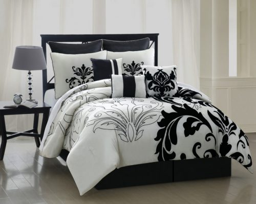 Bedroom Luxury Black White Bedding Design Ideas Feat Floral Accent Bed Sets