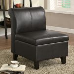Black Armless Leather Accent Chair Storage Wooden Leg Small Modern Living