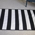 Black White Striped Rug