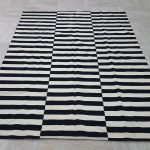 Black White Striped Rug Handmade