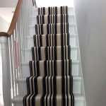 Black White Striped Stair Carpet Flooring