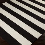 Black White Striped Wool Carpet