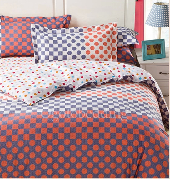 Blue Orange Polka Dot Designer Chic Comforter Sets
