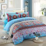 Blue Pink Floral Bedding Set