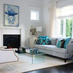 Blue Velvet Sofa Contemporary Living Room Benjamin Moore Pure White Style