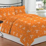 Bombay Dyeing Orange Floral Double Bed Sheet Pillow Covers