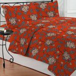 Bombay Dyeing Orange Gray Floral Poly Cotton Double Bed Sheet Pillow Covers