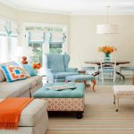 Brown Turquoise Orange Living Room Modern