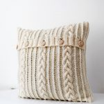 Cable Knit Pillow Cover Milk White Decorative