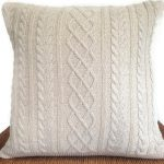 Cable Knit Sweater Pillow Cycled Off White