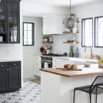 Charming Black White Brass Kitchen