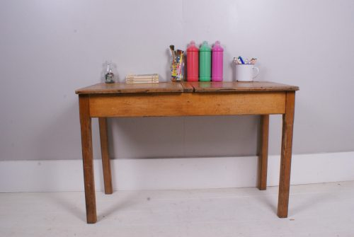 Children Vintage Wooden Double School Desk