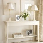 Console Table Decor Ideas Featuring White Wooden Frames Rectangle Top Shelf