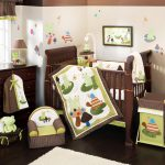 Cool Nursery Bedding Sets Jungle Theme Brown White Consist