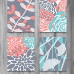 Coral Turquoise Gray Art Print Set Modern Vintage
