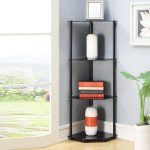 Corner Shelf Rack Tier Black Glass Bath Living Dining Room Home Display Stand