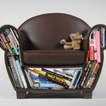 Cute Small Leather Kids Chair Dark Brown Color Bookshelf Storage Pillow
