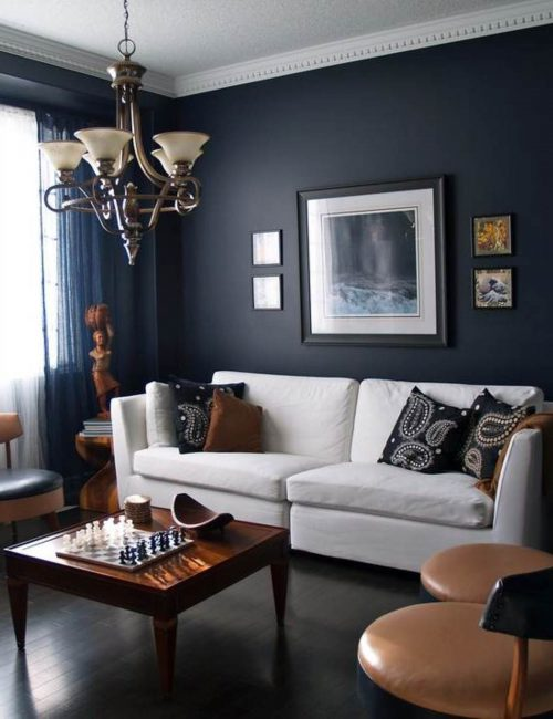 Dark Colored Linen Sofa Feng Shui Living Room Furniture Placement Black Wood Bookshef