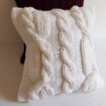Decorative Chunky White Cable Knit Pillow Case