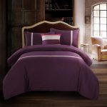 Deep Purple Cotton Bedding Sets Solid Printed Queen King Duvet Cover Bed