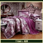 Deep Purple Luxury Brand Lace Satin Jacquard Bedding Comforter Set Sets King Queen