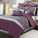 Deep Purple Silver Gray Embroidered Design Comforter Set King