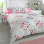 Duvet Quilt Cover Pillowcase Bedding Set Floral Rosie Pink Blue White Roses