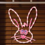 Easter Decorations Bunny Face Lighted Window Silhouette American