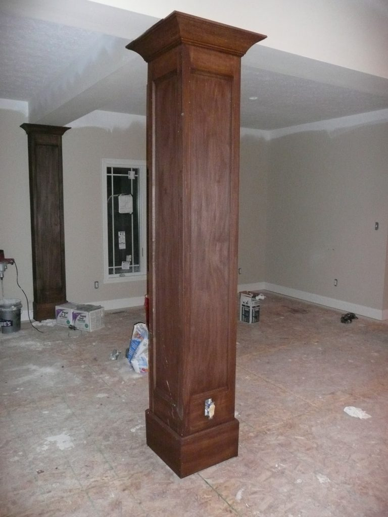 Exquisite Wood Trim Stain Square Interior Columns Grey Wall Painted