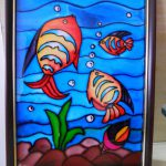 Glass Painting Fishes Pond