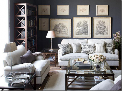 Gray Toile Living Room