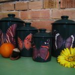 Green Butterfly Kitchen Canister Set