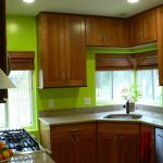 Green Kitchen Walls Brown Cabinets