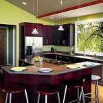 Green Kitchen Walls Dark Cabinets Design