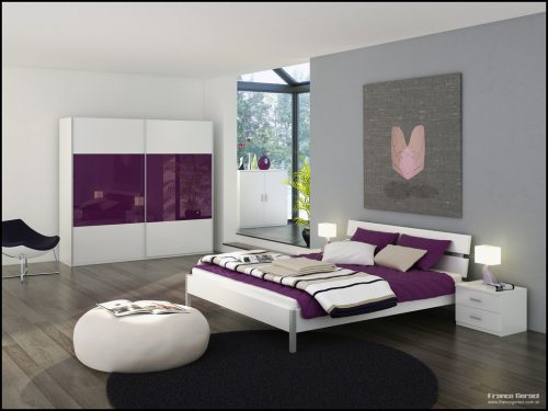 Grey Bedroom Glass Sanctuary Purple White Decor Interior Design