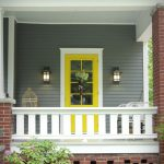 Grey House Yellow Red Front Door Design Ideas Pics