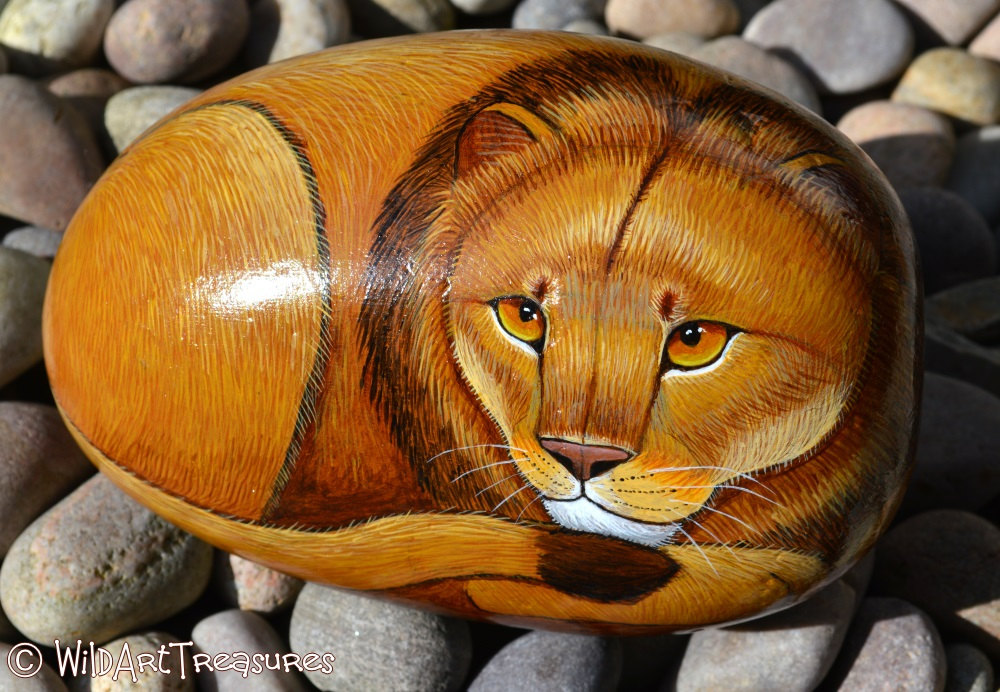 Hand Painted Rocks Lion Rock Crafts Animal