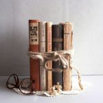Home Decor Vintage Books Neutral Shades Old Book